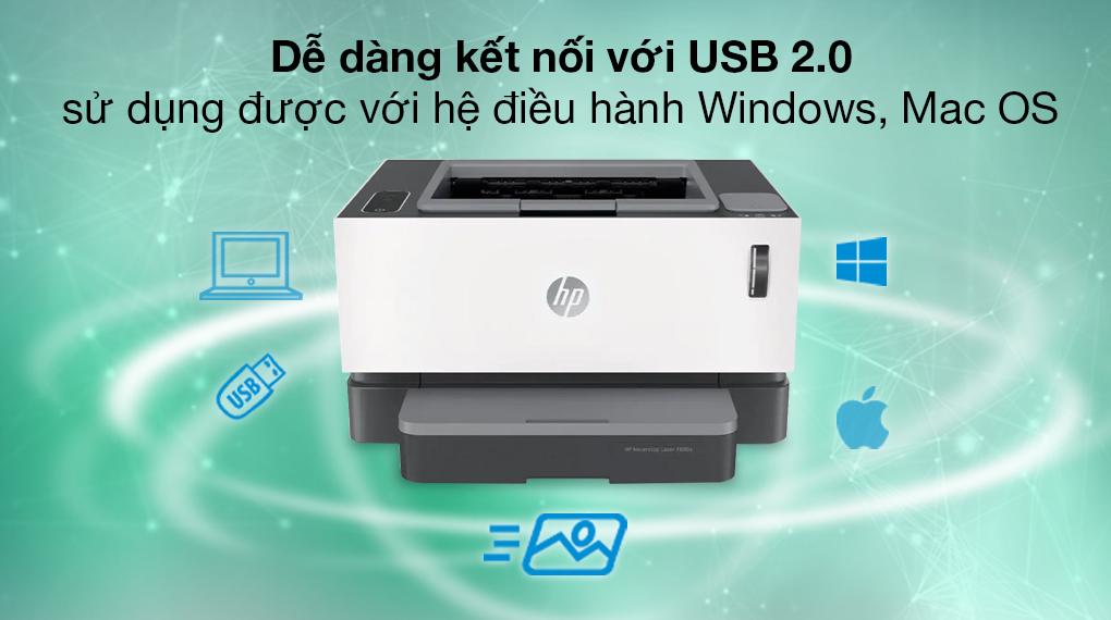 Máy in Laser đơn năng HP Neverstop 1000a (4RY22A) - Kết nối