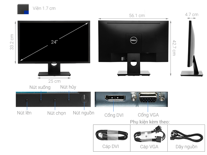 Màn hình LCD Dell 23.8 inch Full HD (E2417H) chính hãng, giá rẻ