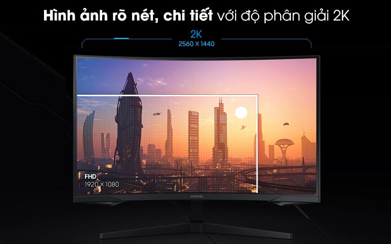 Màn hình máy tính LCD Samsung Gaming 32 inch WQHD 144Hz 1ms/HDR10 (LC32G55TQWEXXV) - Độ phân giải 2K