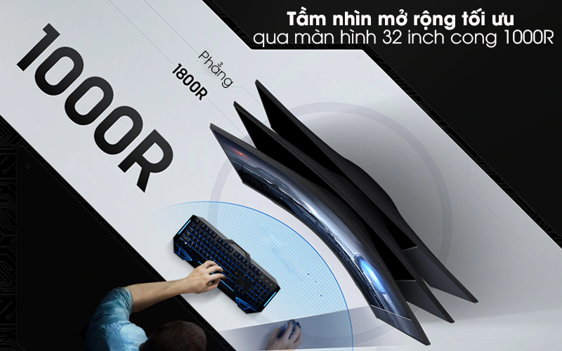 Màn hình máy tính LCD Samsung Gaming 32 inch WQHD 144Hz 1ms/HDR10 (LC32G55TQWEXXV) - Màn hình 32 inch cong 1000R