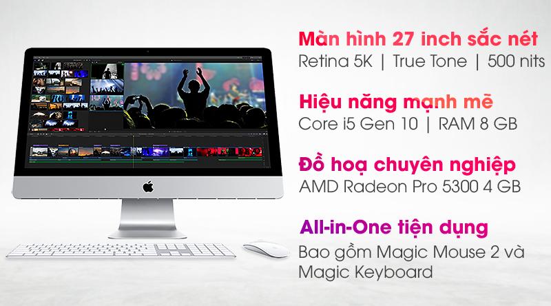 Apple iMac 27inch Retina 5K i5 3.1GHz/8GB/256GB/4GB Radeon Pro 5300/KB/Mouse/Cáp/(MXWT2SA/A)