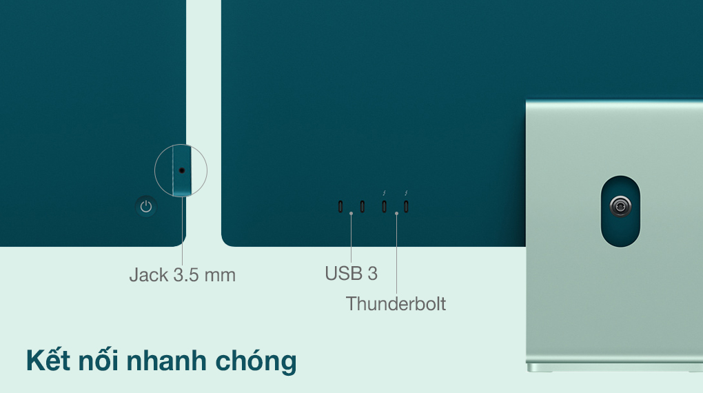 iMac 24 inch 2021 4.5K M1 8GPU (MGPJ3SA/A) Green - Cổng kết nối