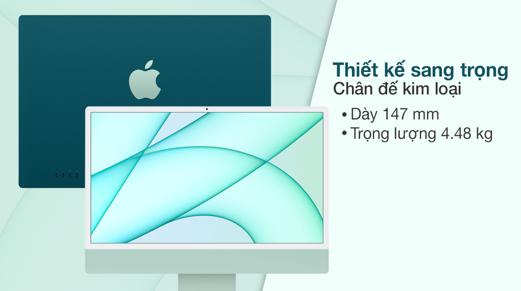iMac 24 inch 2021 4.5K M1 8GPU (MGPJ3SA/A) Green - Thiết kế