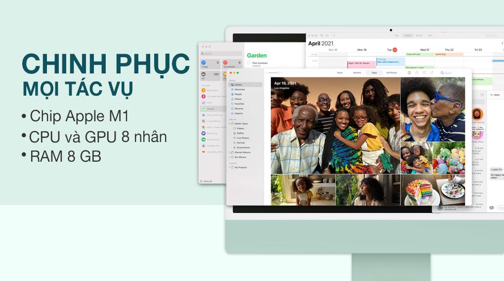 iMac 24 inch 2021 4.5K M1 8GPU (MGPJ3SA/A) Green - Cấu hình