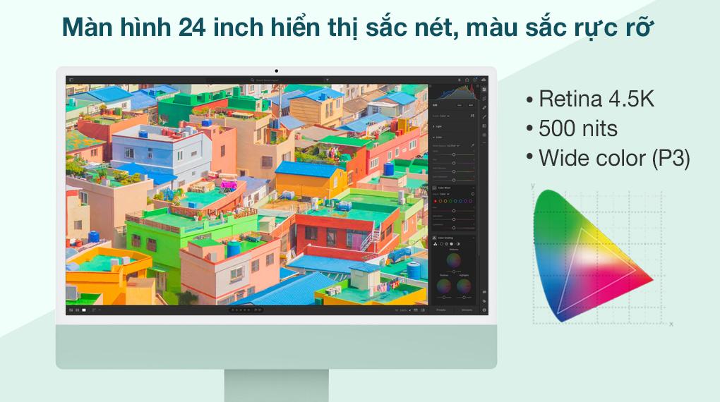 iMac 24 inch 2021 4.5K M1 8GPU (MGPJ3SA/A) Green - Hình ảnh