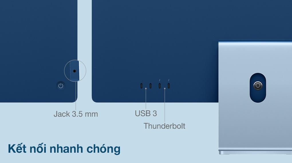 iMac 24 inch 2021 4.5K M1 8GPU (MGPL3SA/A) Blue - Cổng kết nối