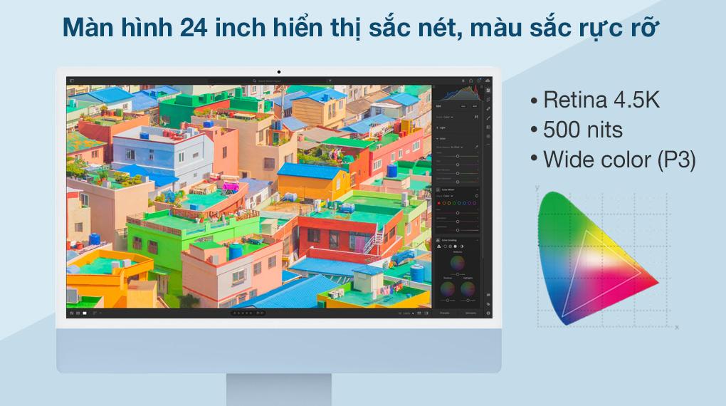 iMac 24 inch 2021 4.5K M1 8GPU (MGPL3SA/A) Blue - Hình ảnh