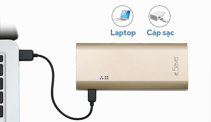 Pin sạc dự phòng 10000mAh eSaver LA Y325S - Thời gian nạp đầy pin từ 5 đến 6 giờ
