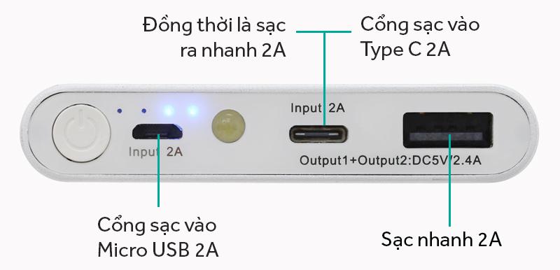 Pin sạc dự phòng Polymer 10.000 mAh Type C eSaver PJ JP106S - Các cổng kết nối trên pin sạc dự phòng