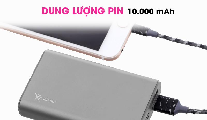 Pin sạc dự phòng 10000mAh Lightning Xmobile LJ JP90S Nhôm Xám
