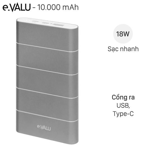 Pin sạc dự phòng Polymer 10.000 mAh QC 3.0 eValu PA F1 Air Nhôm Bạc