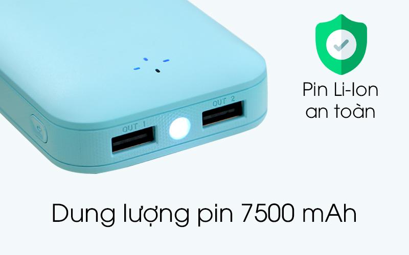 Dung lượng pin Pin sạc dự phòng 7500mAh AVA LJ JP197