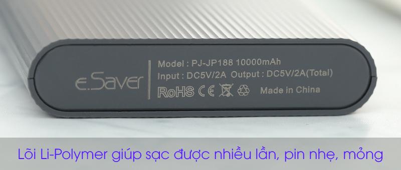 Lõi của pin sạc dự phòng Polymer 10.000 mAh Lightning eSaver PJ JP188 Xám