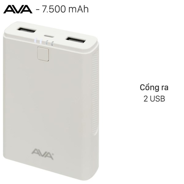 Pin sạc dự phòng 7.500 mAh AVA DS630-WB Trắng