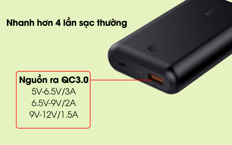 Pin sạc dự phòng 10.050 mAh Type-C PD QC3.0 Aukey PB-XD10 Đen cho phép sạc pin nhanh chóng