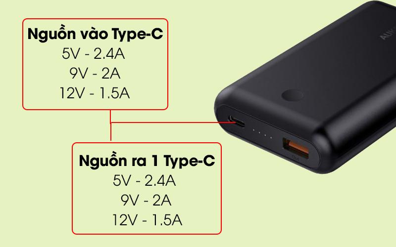 Pin sạc dự phòng 10.050 mAh Type-C PD QC3.0 Aukey PB-XD10 Đen có cổng sạc USB Type-C tiện ích