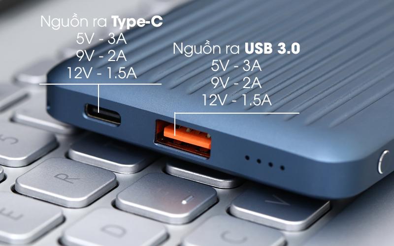 Pin sạc dự phòng Polymer 10.000 mAh Type C PD QC3.0 iWALK UBC10000PS xanh có 2 cổng sạc