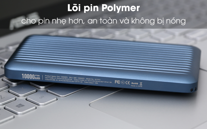 Pin sạc dự phòng Polymer 10.000 mAh Type C PD QC3.0 iWALK UBC10000PS xanh có lõi pin Polymer