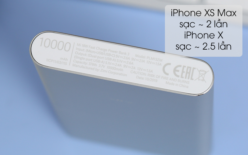 Dung lượng pin 10.000 mAh - Pin sạc dự phòng Polymer 10.000mAh Xiaomi Mi 18W Fast Charge Power Bank 3