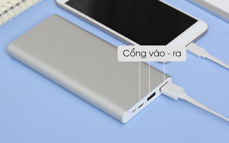 Có 2 cổng vào và 2 cổng ra - Pin sạc dự phòng Polymer 10.000mAh Xiaomi Mi 18W Fast Charge Power Bank 3