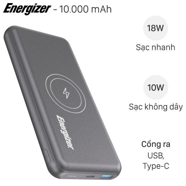 Pin sạc dự phòng không dây Polymer 10.000mAh Type C PD QC3.0 Energizer QE10007PQ Xám