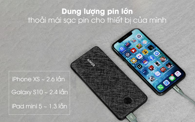 Dung lượng pin lớn thoải mái sạc pin cho thiết bị của mình - Pin sạc dự phòng Polymer 10.000mAh Type C Anker PowerCore Slim A1229 Đen