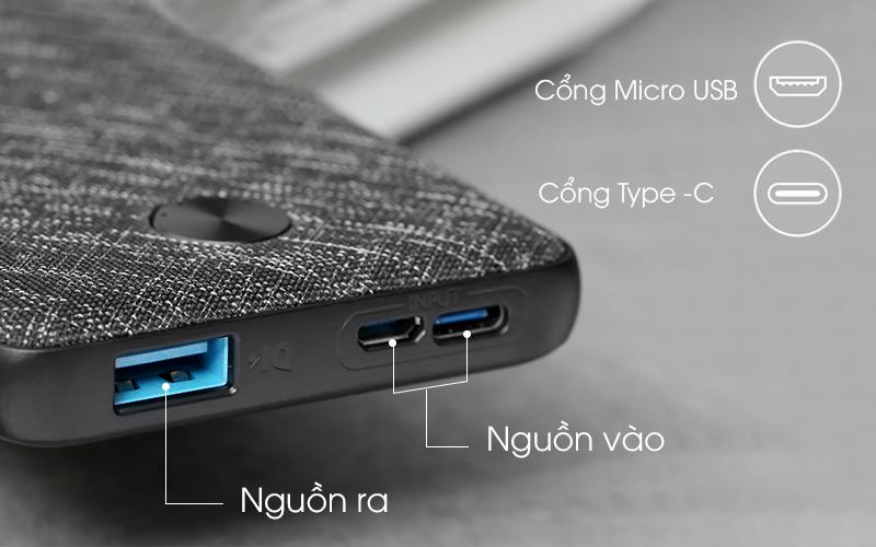 Hỗ trợ sạc lại qua cổng MicroUSB hoặc USB-C - Pin sạc dự phòng Polymer 10.000mAh Type C Anker PowerCore Slim A1229 Đen
