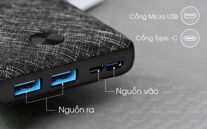 Sử dụng hai cổng USB dễ dàng sạc cùng lúc hai thiết bị - Pin sạc dự phòng Polymer 20.000mAh Type C Anker PowerCore Metro Essential A1268 Đen