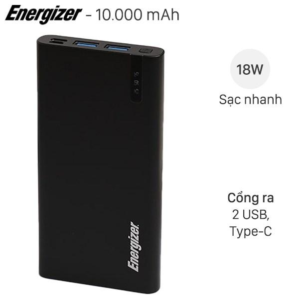 Pin sạc dự phòng Polymer 10.000mAh Type C PD QC3.0 Energizer UE10047PQ Đen