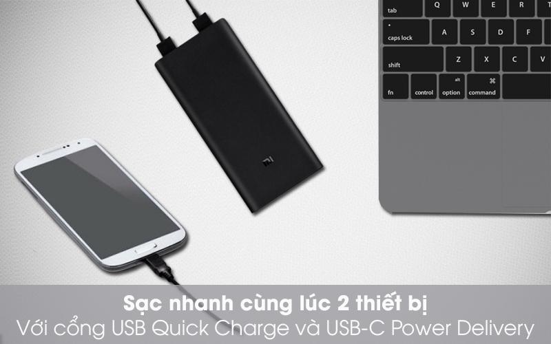 Sạc nhanh - Pin sạc dự phòng Polymer 20.000mAh Xiaomi Type C 3 Pro VXN4254GL Đen