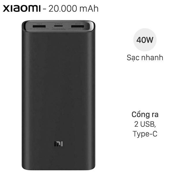 Pin sạc dự phòng Polymer 20.000mAh Xiaomi Type C PowerBank 3 Pro VXN4254GL Đen
