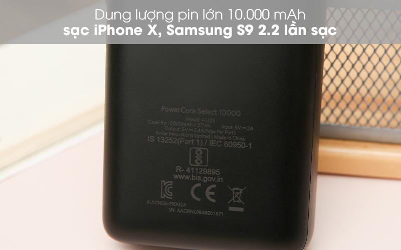 Pin sạc dự phòng 10.000mAh Anker PowerCore Select A1223 Đen - Sạc được nhiều lần với pin dự phòng 10.000 mAh