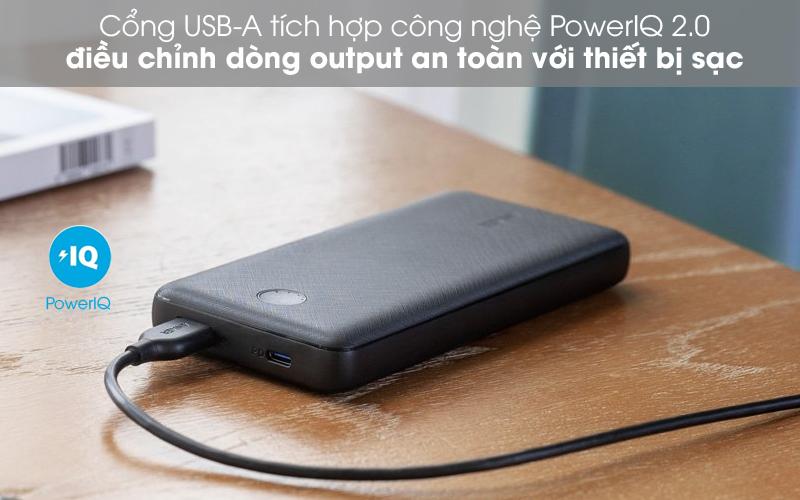 Cổng USB-A PiQ - Pin sạc dự phòng Polymer 20.000mAh Type C PowerCore Essential PD Anker A1281 Fabric Đen