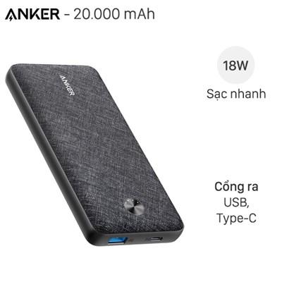 Pin sạc dự phòng Polymer 20.000mAh Type C PowerCore Essential PD Anker A1281 Fabric Đen