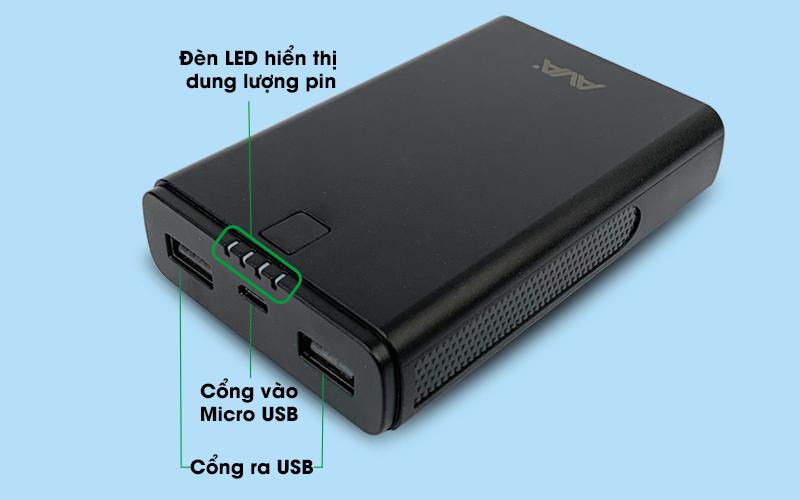 Pin sạc dự phòng 7500mAh AVA DS630 - Thiết kế 2 cổng USB có thể sạc 2 thiết bị song song