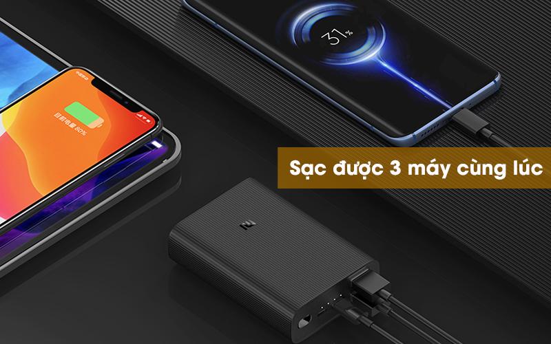 Pin sạc dự phòng Polymer 10.000mAh Type C Xiaomi Power Bank 3 Ultra Compact Đen - Nạp pin cho 3 thiết bị cùng 1 lúc