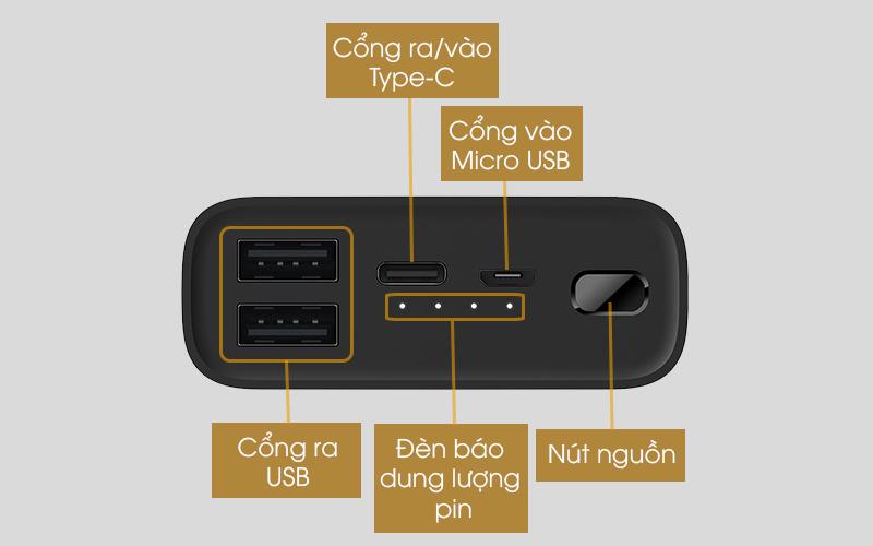 Pin sạc dự phòng Polymer 10.000mAh Type C Xiaomi Power Bank 3 Ultra Compact Đen - Tích hợp 4 cổng sạc ra/vào tiện dụng