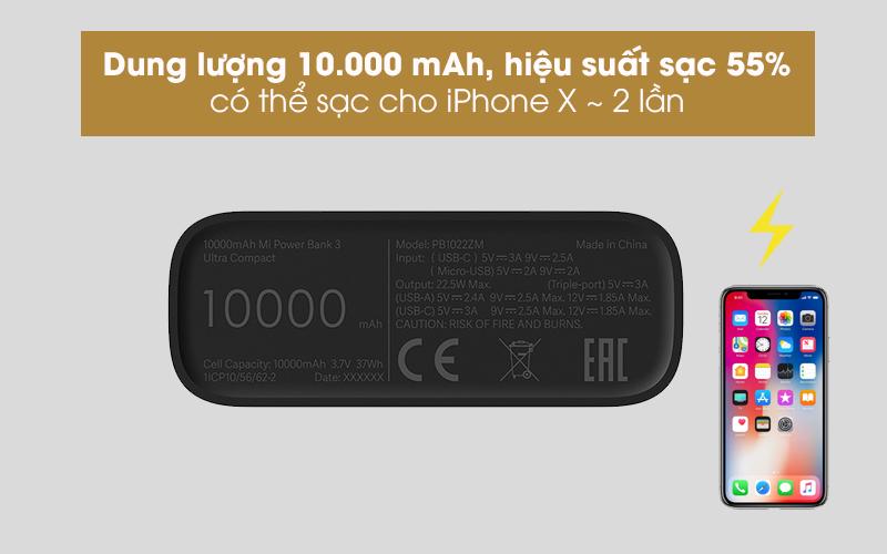 Pin sạc dự phòng Polymer 10.000mAh Type C Xiaomi Power Bank 3 Ultra Compact Đen - Thoải mái sạc pin cho nhiều thiết bị với dung lượng lớn