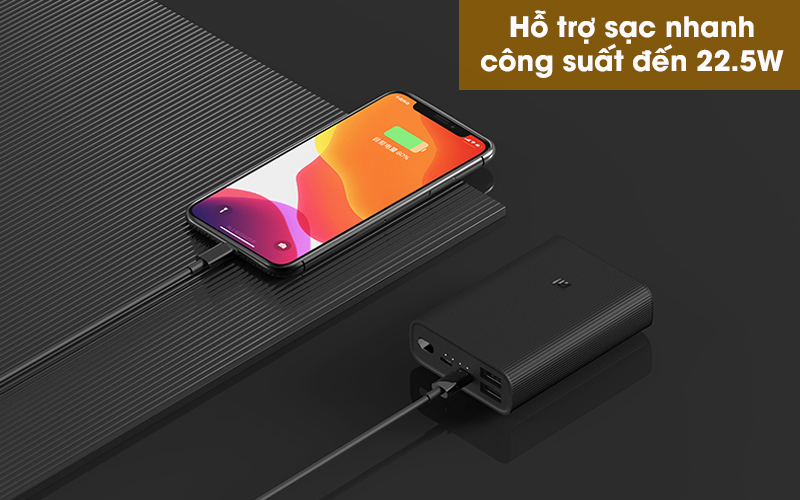 Pin sạc dự phòng Polymer 10.000mAh Type C Xiaomi Power Bank 3 Ultra Compact Đen - Nạp đầy pin nhanh chóng