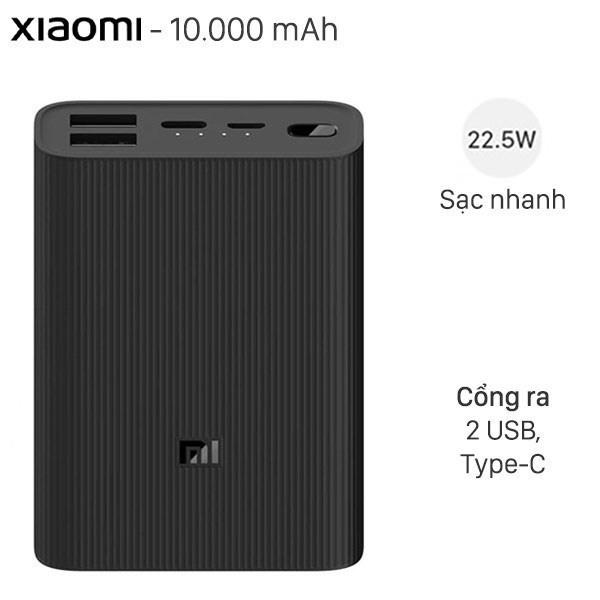 Pin sạc dự phòng Polymer 10.000mAh Type C Xiaomi Power Bank 3 Ultra Compact Đen