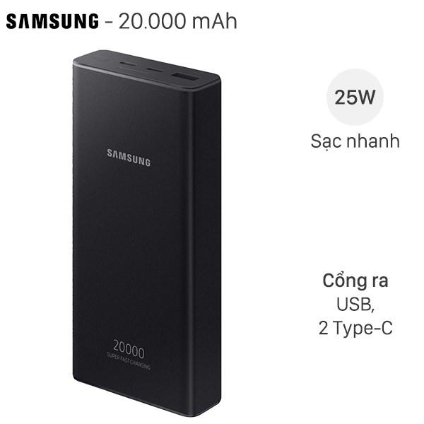 Pin sạc dự phòng Polymer 20.000mAh Type C PD 25W Samsung EB-P5300 Đen