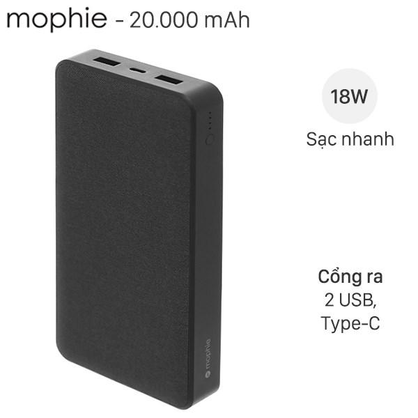 Pin sạc dự phòng Polymer 20.000mAh Type C PD Mophie Powerstation Đen