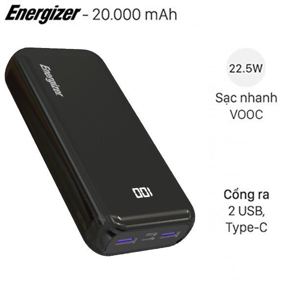 Pin sạc dự phòng Polymer 20.000mAh Type C PD Energizer UE20011PQ Đen