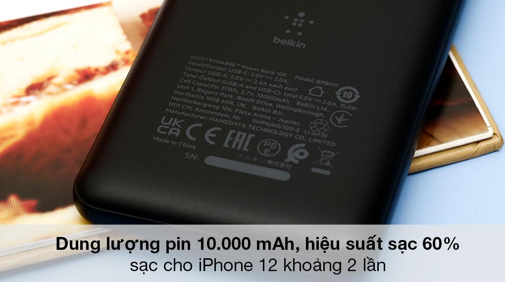 Pin sạc dự phòng Polymer 10.000 mAh Type C 15W PD Belkin Pocket Power BPB011 Đen - Tự tin chinh phục mọi hành trình với dung lượng pin lên đến 10.000 mAh