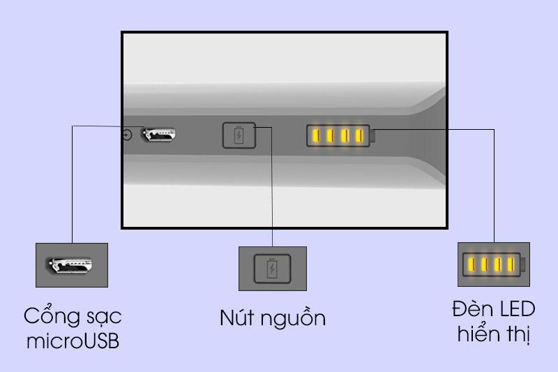 Pin sạc dự phòng 10000mah romoss Solo 5 - Nút bấm và cổng kết nối trên pin sạc