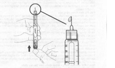 E. Bấm hết chiểu sâu nút tiêm. Kiểm tra xem insulin có trào ra ở đầu kim hay không.