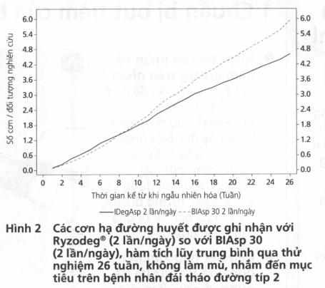 Hình 2 Các cơn hạ đường huyết được ghi nhận với Ryzodeg (2 lần/ngày) so với BIAsp 30 (2 lần/ngày), hàm tích lũy trung bình qua thử nghiệm 26 tuần, không lam mù, nhắm đến mục tiêu trên bệnh nhản đái tháo đường típ 2