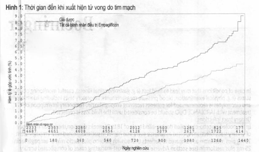Hình 1: Thời gian đến khi xuất hiện tử vong do tim mạch
