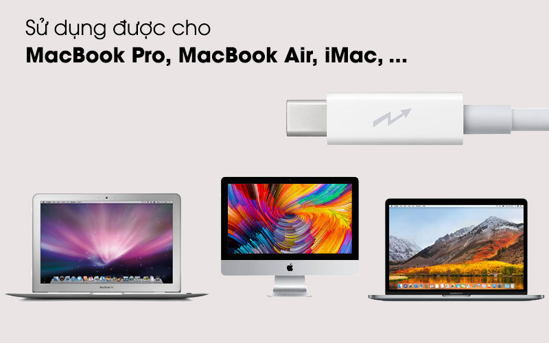 Sử dụng cho nhiều thiết bị của Apple - Cáp Thunderbolt 2 m Apple MD861 Trắng