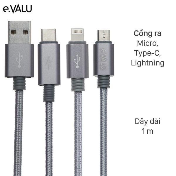 Cáp 3 đầu Lightning Type C Micro 1m eValu Spanker B